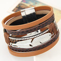 High Quality 2016 Hot Sale Alloy Feather Leaves Wide Magnetic Leather Bracelet & Bangles Multilayer Bracelets Jewelry For women