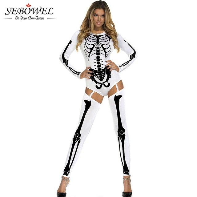 Sebowel hueso esqueleto adulto Halloween Disfraces de miedo para las