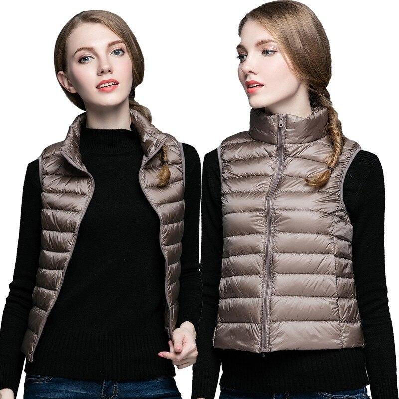 2017 Winter New White Duck Ultra Light   Down     Coat   Vest Stand Collar Warm Slim Zipper Women Fashion   Down   Jacket S-3XL
