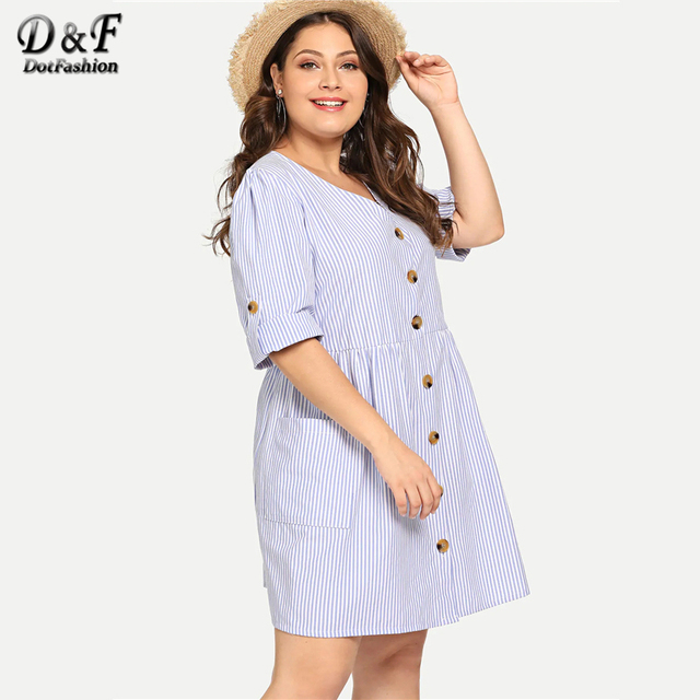 Dotfashion Plus Size Blue Roll-Up Sleeve Stripe Shirt Dress Women Casual 2019 Summer A Line V Neck Fit And Flare Short Dress 3