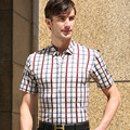 High quality summer casual shirt brand men's plaid style short sleeve shirts man pure cotton plaid tops business formal shirts
