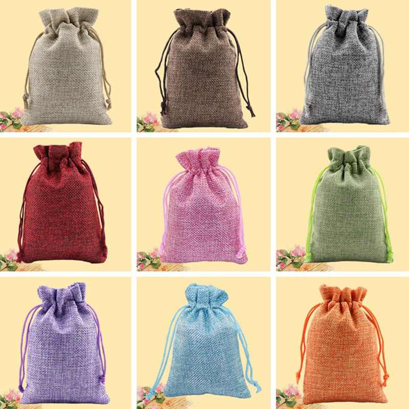 Christmas Linen Jute Drawstring Jewelry Gift Bags Sacks Wedding Birthday Party Favors Drawstring Gift Bags Baby Shower Supplies
