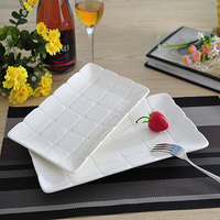 Mosaic Relief Rectangle Ceramics Serving Dish Set Decorative Porcelain Dinner Plate Dinnerware For Pastry Pancake And