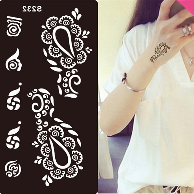 US $2 14 17% OFF|Stencils Face Body Painting Henna Tattoo Paste Template  Mehndi Body Art Ink Tattoos DIY painted Printing Stencil Make up Tool-in