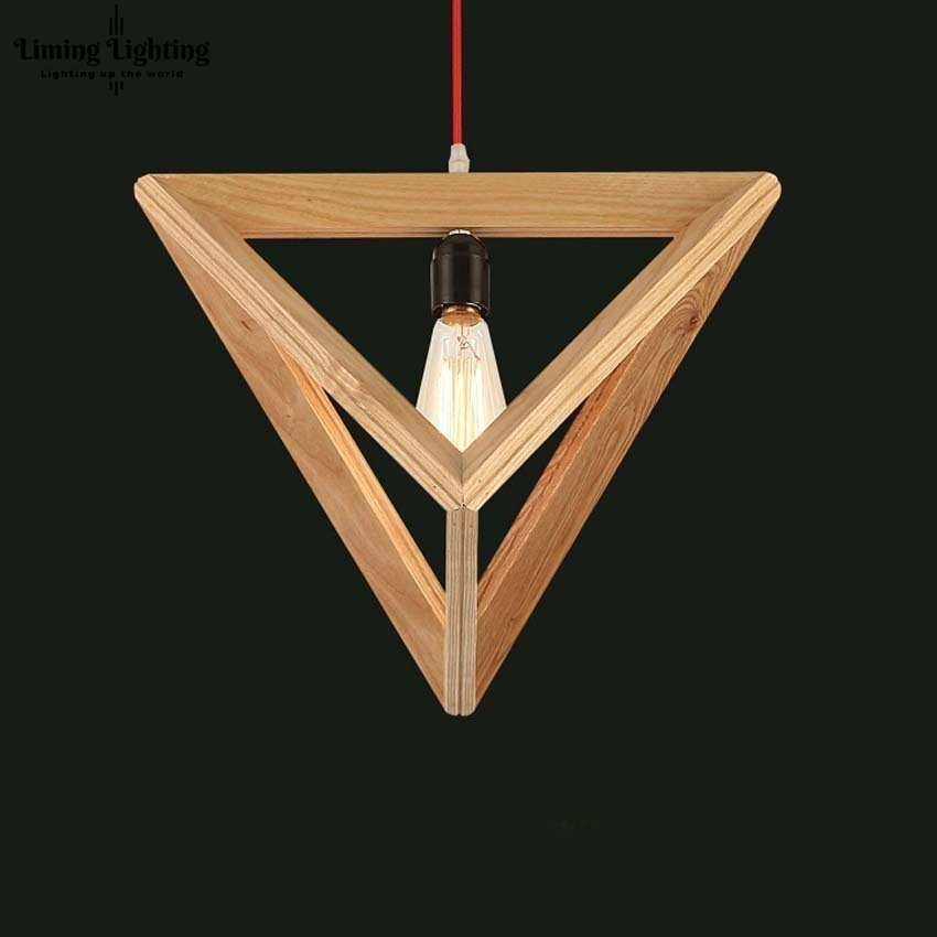 LukLoy Solid Wood Lamp Triangle Modern Pendant Light for Dining Study Kitchen Island Living Room Office Home Decor Loft Lighting
