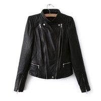 2017 S L Leather Jacket For Women New Spring Fashion Black Khaki Ladies Basic Street Women