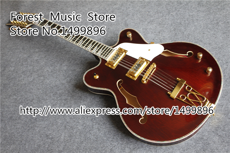 Chinese 12 String Gret. Electric Guitar Hollow Maple Body & Custom Logo Free Shipping free shipping chinese factory custom 2017 100