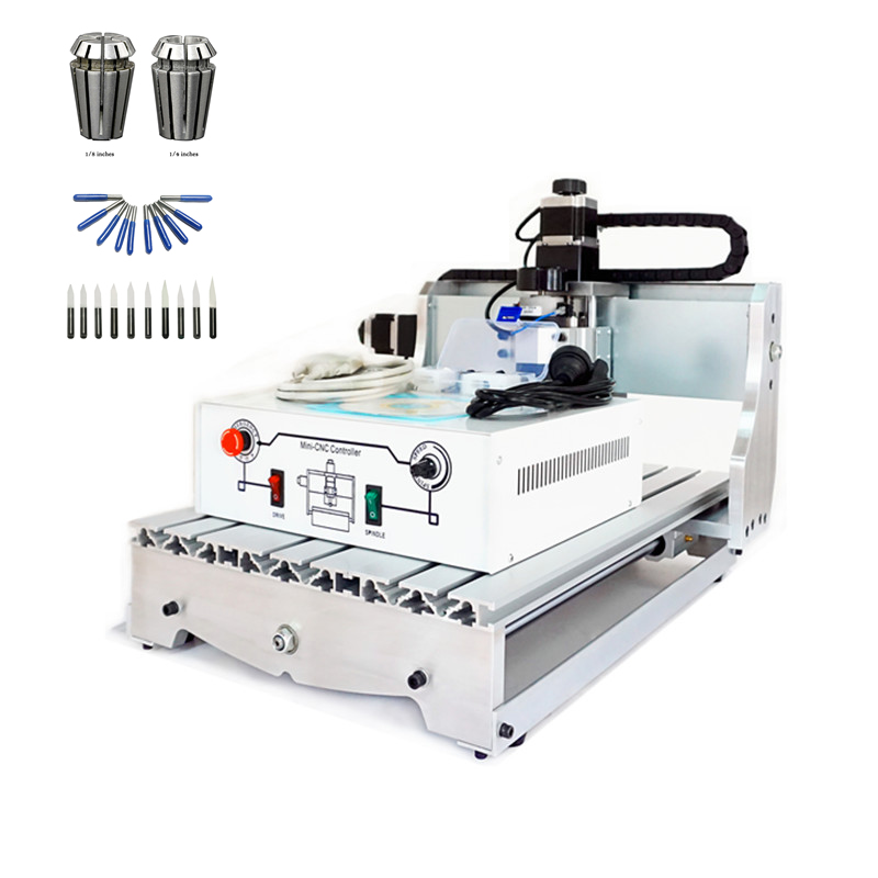 4 axis cnc 3040 2200w spindle 3 axis metal engraving machine er20 collet wood router with limit switch and free cutter 4 axis cnc lathe machine 3040Z D300 with ball screw and spindle wood router with free cutter er11 collet