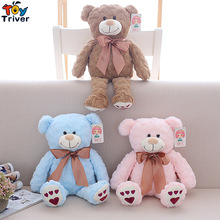 38cm Plush Teddy Bear Blue Pink Brown Toy Doll Stuffed Animals Children Kids Baby Birthday Gift Home Shop Decoration Triver brown teddy bear plush toy triver bears stuffed animal doll toys baby kids children birthday promotional gift