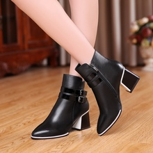 Belt Buckle Pointy Toe Side Zippers Black Cowhide Thick High Heels Ankle Boots For Women 2016 Winter New Warm Booties Shoes