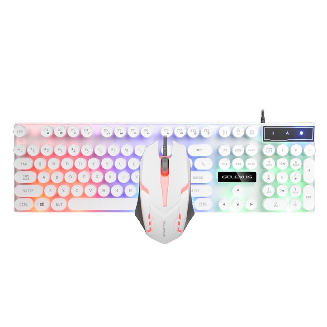 Mode rétro-éclairage LED coloré connexion opto-électronique USB filaire, plug and play, utilisation facile. Ensemble Clavier souris