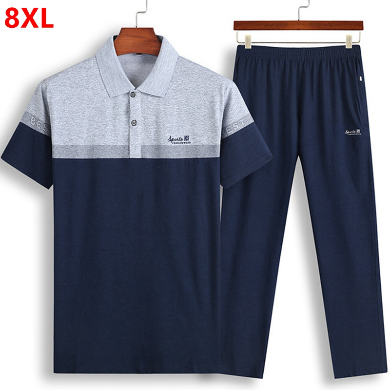 oversized men's short sleeved T shirt trousers thin section set sportswear large size loose  summer 8XL 7XL 6XL-in Men's Sets from Men's Clothing    1