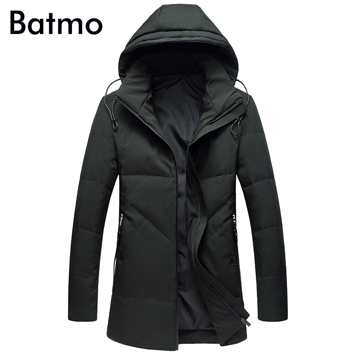Batmo 2017 new arrival winter high quality 90% white duck down casual Hat Detachabl jacket men,winter mens coat plus-size,6812