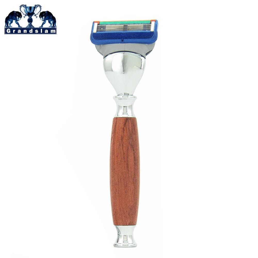 Grandslam Mens Safety Shaving Razor 5 Layer Cartridge Shaver For Manual Shave Beard Natural Wood Handle + Black Gift Box