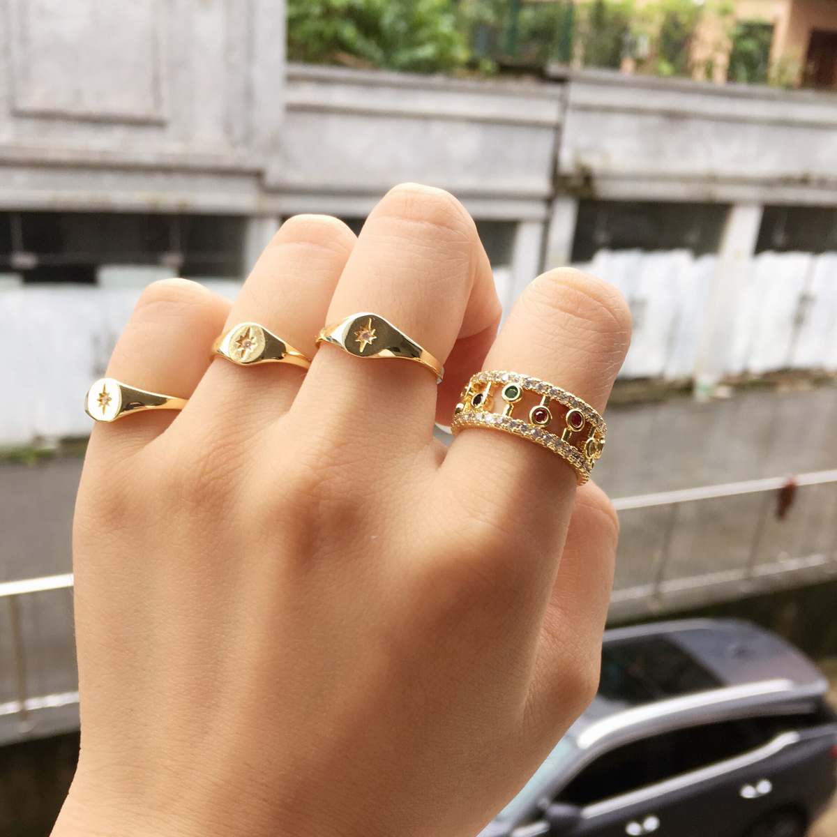 2018 hot fashion gold color simple cz star ring Midi Minimal paved cz delicate north star Top quality cute elegant girls jewelry(China)