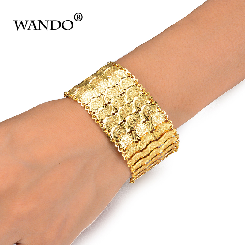 WANDO Coins Bracelet for Women Islam Muslim Arab Coin Money Sign Gold Color Middle Eastern Jewelry Bangle Metal Coin gift wb155