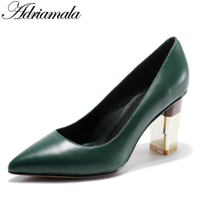 Pointed Toe Women High Heel Pumps Brand Designer Cow Leather Party Dress Pumps Shoes Slip-on Womens Fashion Shoes 2017 Adriamala 2016 spring designer women shoes 6 colors thick heel patent leather slip on pumps brand designer quality dress shoes with buckle