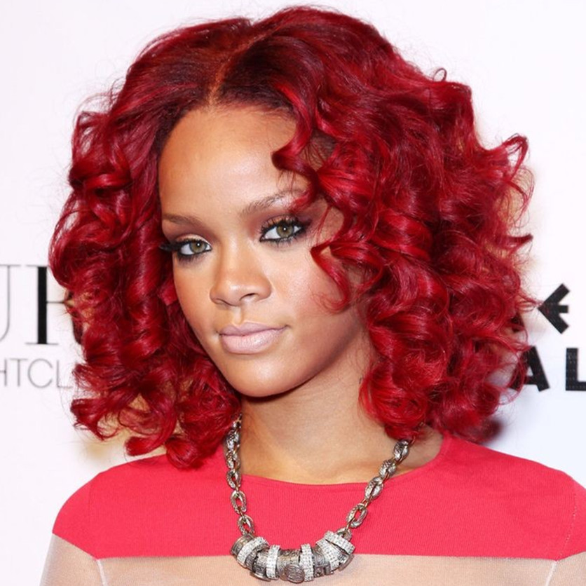 how to style red hair rihanna style burgundy medium curly synthetic 2990 | Rihanna Style Red Burgundy Medium Long Curly Synthetic Hair Wig for Black Women Perruque Peruk Afircan