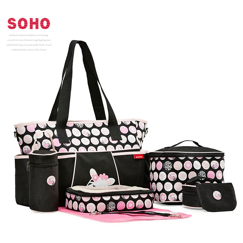 Zebra 5 Pieces Diaper Bags Set Designer Tote Cute Nursing Bag Hobos Mother's Maternity Stroller Bag Dot Changing Bags Baby Care faux leather minimalist practical 3 pieces tote bag set page 5