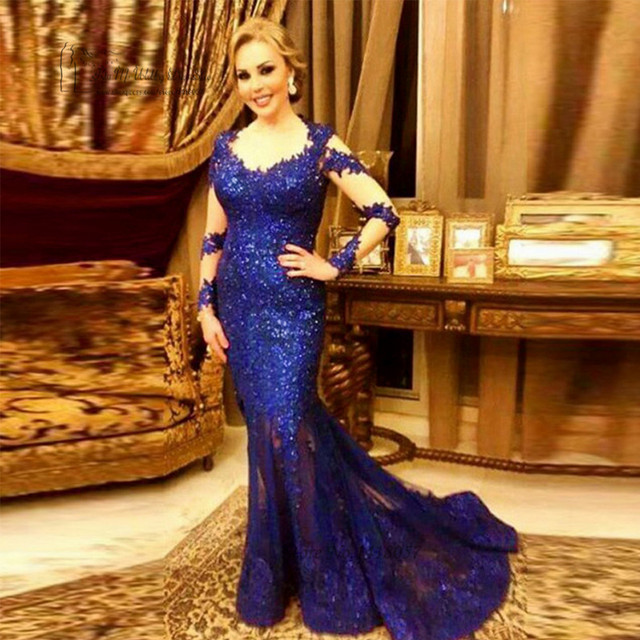 Formal Royal Blue Long Sleeve Evening Dress Lace See Through Sequin Mermaid  Prom Dresses 2017 Gowns Women Robe de Soiree Longue 85e97386ca8c