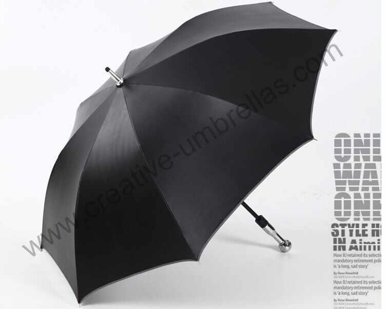 Parapluie de golf incassable d'auto-défense, axe et nervures de fibre de verre de carbone, 210 T revêtement noir de pongé de Formosa de Taiwan 5 fois, Anti-UV