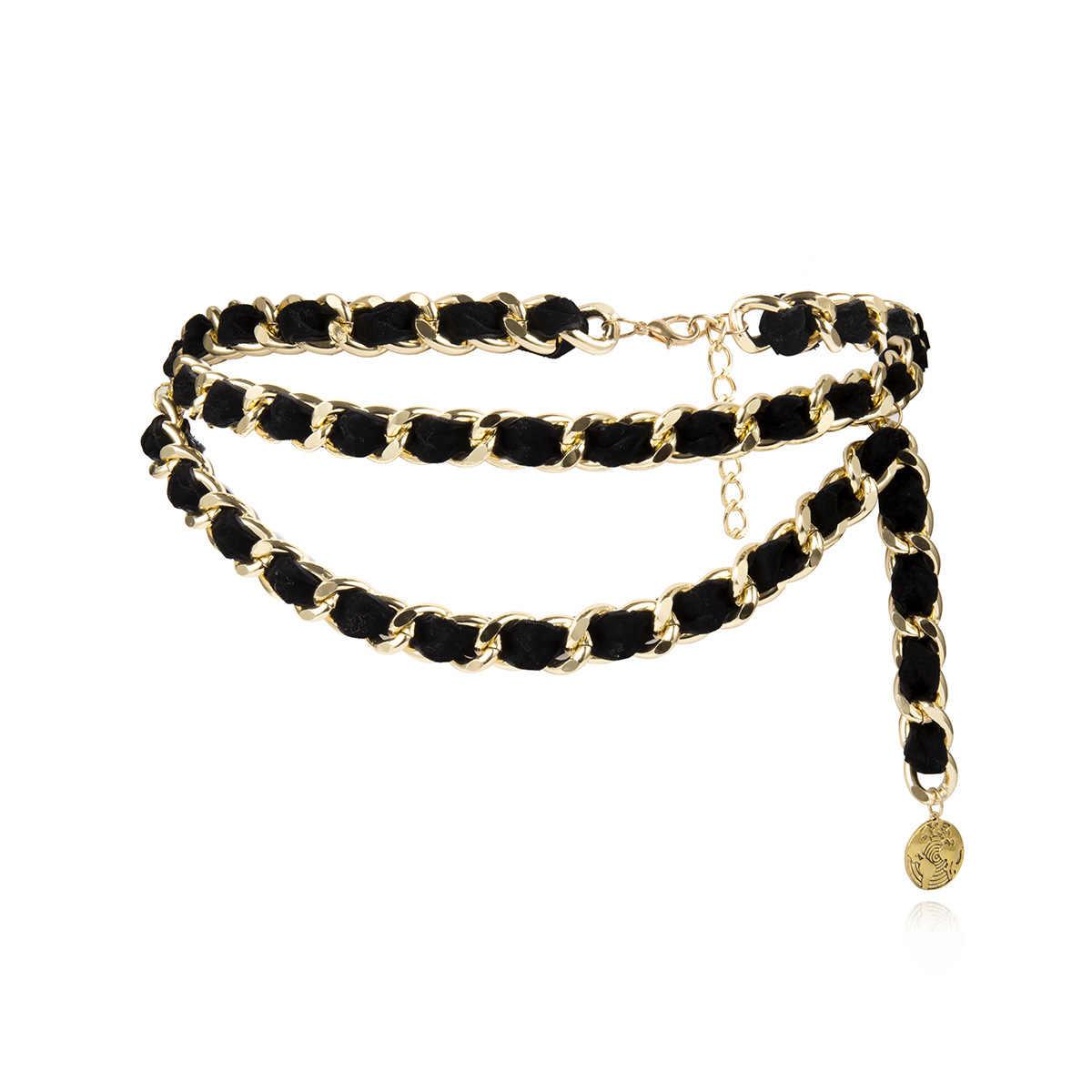 Kobiet Fringe ze stopu metali łańcuszek do spodni dla kobiet kitki flanelowe złoty pas panie przesadzone Vintage uciekają łańcuch talii 139