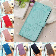 Leather Phone Case For Huawei P8 Lite 2017 Cover Elephant pattern Flip Wallet Stand Cover for Huawei P9 Lite 2017 Case(China)