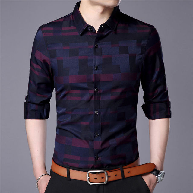 Plaid Long Sleeve Business Casual Shirt 4