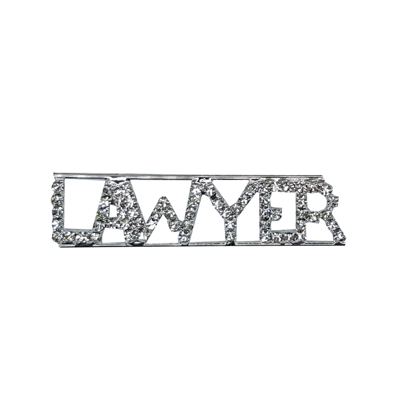 Custom Professions&Jobs Theme Crystal Lapel Pin LAWYER Word Brooch Gift Wholesale 6PCS/LOT FREE SHIPPING