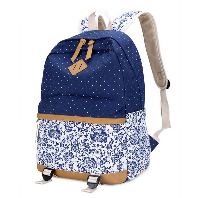0c340b42fa 3 pcs female flower canvas backpack girls school bags kids floral pen bag  set ethnic backpacks