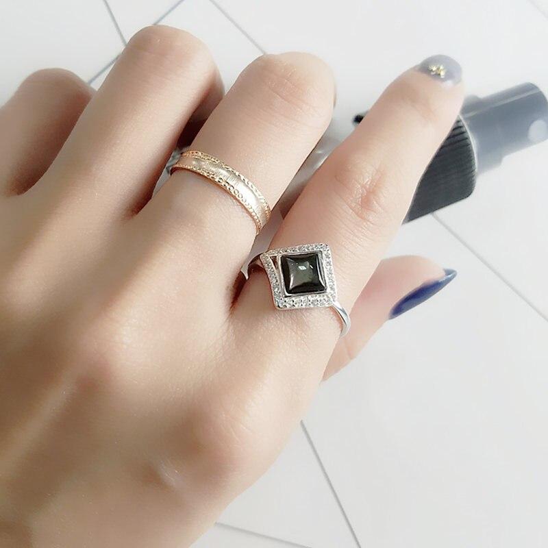 Натуральный черный перламутр Серебро 925 тонкий кольцо для Для женщин Элегантные Простые Дизайн Настоящее Стерлинг Серебряные ювелирные из...