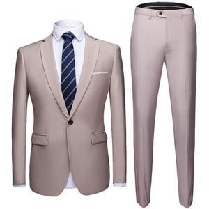 Image 3 - Conjunto de traje de boda de talla asiática para hombre, 2 uds., Blazers, trajes de corte entallado de calidad, traje Formal de negocios, fiesta, azul, clásico, negro