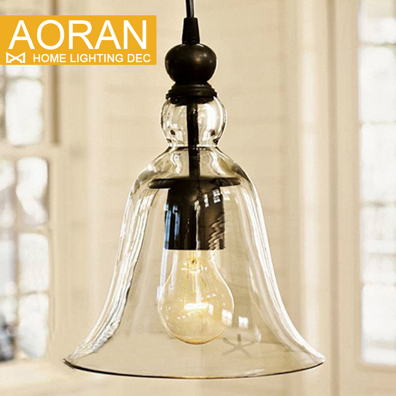 ФОТО Modern Bell Shape Glass Bell Pendant Light Glass Material Hanging Lamp Edison Vintage Lamp Decor For Dining Room Home Lighting