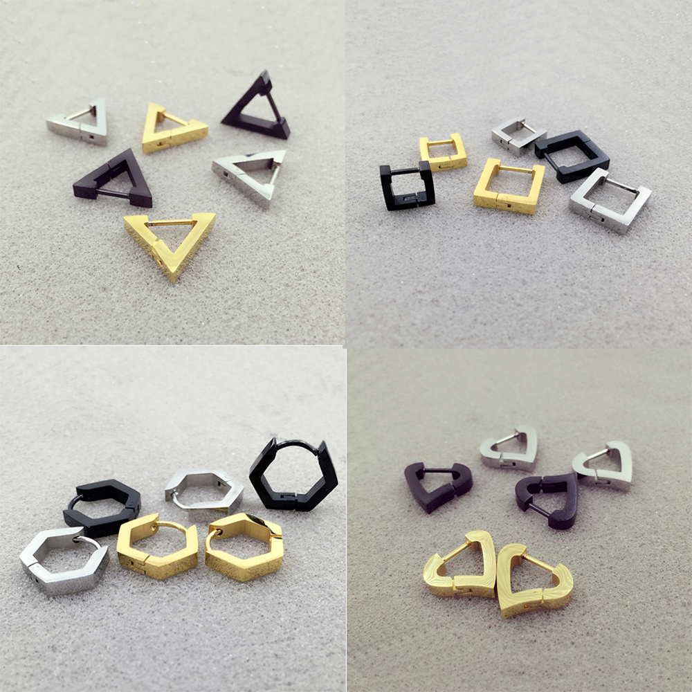 Alisouy 2 pieces Fashion Triangle Square Rhombus Heart Stainless steel Men Women ear Stud Earrings Pierced push-back ear plug