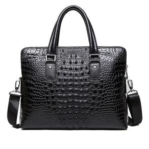 "Image 5 - Famous design briefcase Luxury Crocodile pattern cowhide leather Totes handbag briefcase male shoulder bag  14"" Laptop bags"