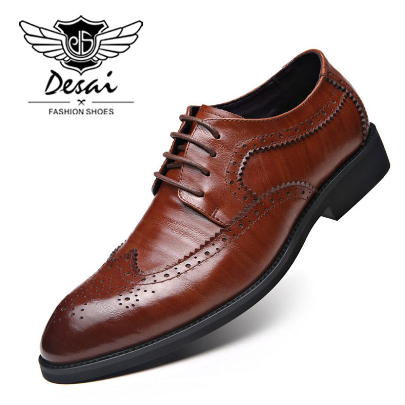 DESAI Brand Luxury Genuine Leather Bullock Carved Men Shoes Extra Large Shoes Man Lace Up Pointed Toe Brogue British Style Shoes desai brand genuine leather shoes men oxfords shoes british style carved brown brogue shoes lace up bullock business men s flats