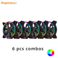 6pcs Full For PC Case Cooler Segotep RGB 120mm Computer Cooling Fan LED Lights High Airflow