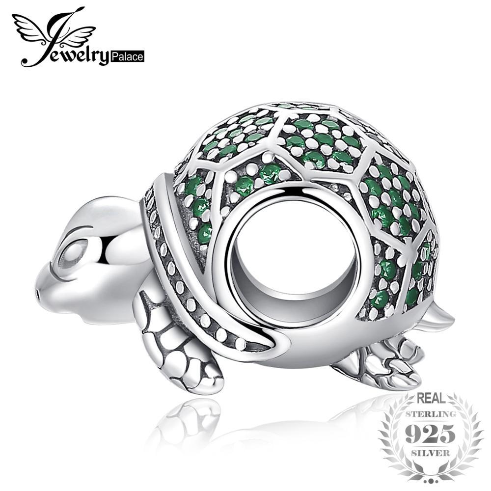 JewelryPalace Ozean Tier Schildkröte Nano Russische Simulierte Smaragd 925 Sterling Silber Charme Perlen Für Frauen 2018 Neue Heiße