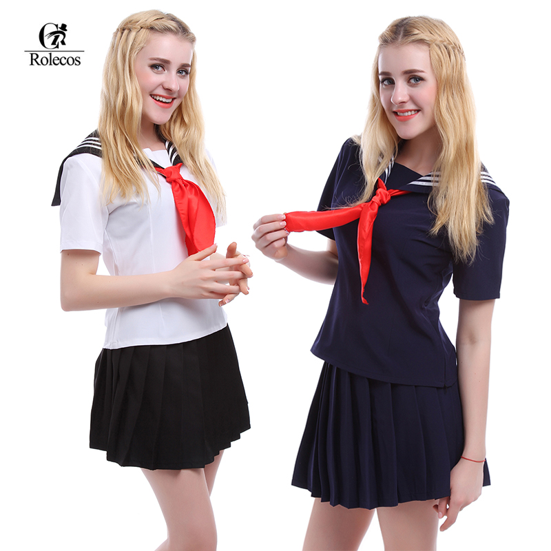 ROLECOS Plus Storlek Japan Sailor School Uniforms Kvinnor Cosplay Kostymer Girl Outfit White Navy Black