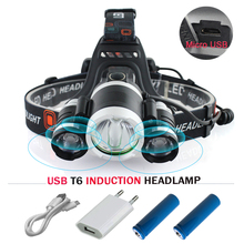 camping headlight wirh ir sensor rechargeable 18650 headlamp usb head lamp head torch led headlights XML- T6 waterproof lanterns sitemap 19 xml