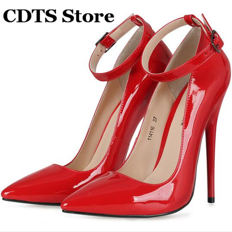 ФОТО CDTS Stilettos Plus:37-44 45 Novelty queen black Crossdresser sexy 16cm thin high-heeled shoes cd fun banding single strap Pumps