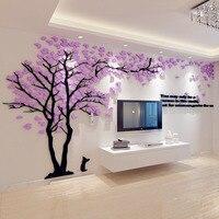 זוג יצירתי אקריליק עיצוב בית עץ 3D מדבקת סטריאו ספת רקע טלוויזיה מדבקות קיר פוסטר לקיר בית אביזרי קישוט