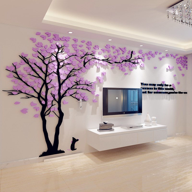 Home Decor Acrylic Creative Couple Tree 3D Sticker Stereo Wall Stickers TV Backdrop Sofa Wall Poster Home Decoration Accessories