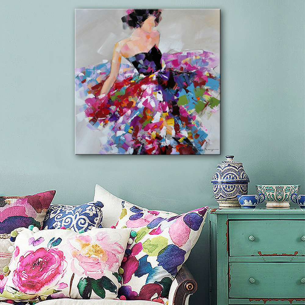 Free Shipping Hand Painting Oil Painting Abstract Floral Skirt Woman Decoration Painting One Pcs Home Decor Modern Wall Prints