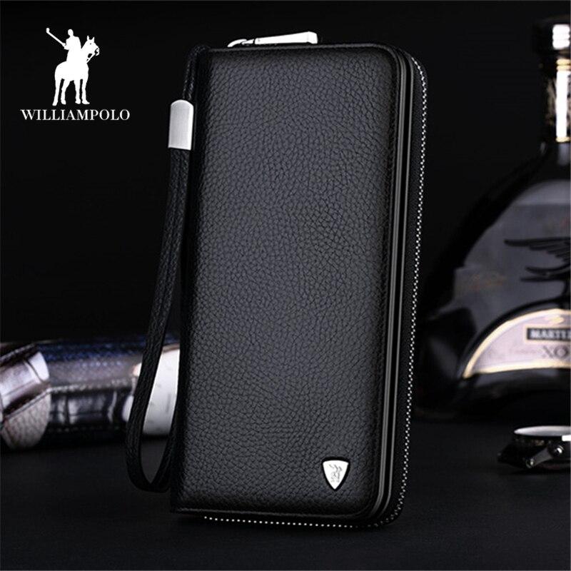 Genuine Leather Wallet Men Business Clutch Wallets Long Wallet Zipper Coin Multi Card Holder High Quality Clutch Handbag PL131