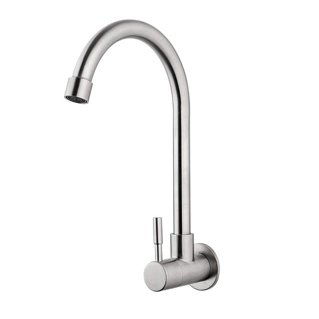 US $15.86 40% OFF|Stainless Steel Wall Mounting Fast On Faucet Kitchen Sink  Sink Single Cold Faucet Wall Mounted Installation NIERSI Faucet-in Kitchen  ...