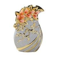 Jingdezhen Scrub Ceramic Decorative Floral Flower Vase Home Furnishing European Gold Ornaments Crafts Frosted TV Cabinet R1941
