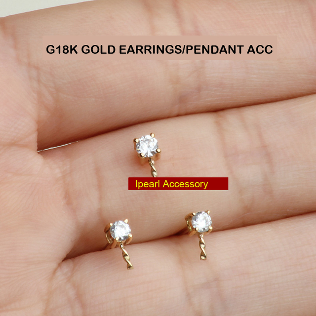 Diy Shinning Super Simple One Diamond Pendant Accessory G18k Gold 2colors Princess Stud Earrings Components Top