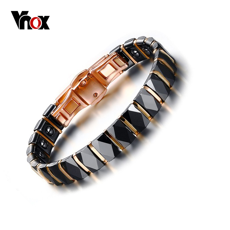 Vnox Rose Gold Plated Hematite Bracelet Men Jewelry Healthy Black Ceramic Male