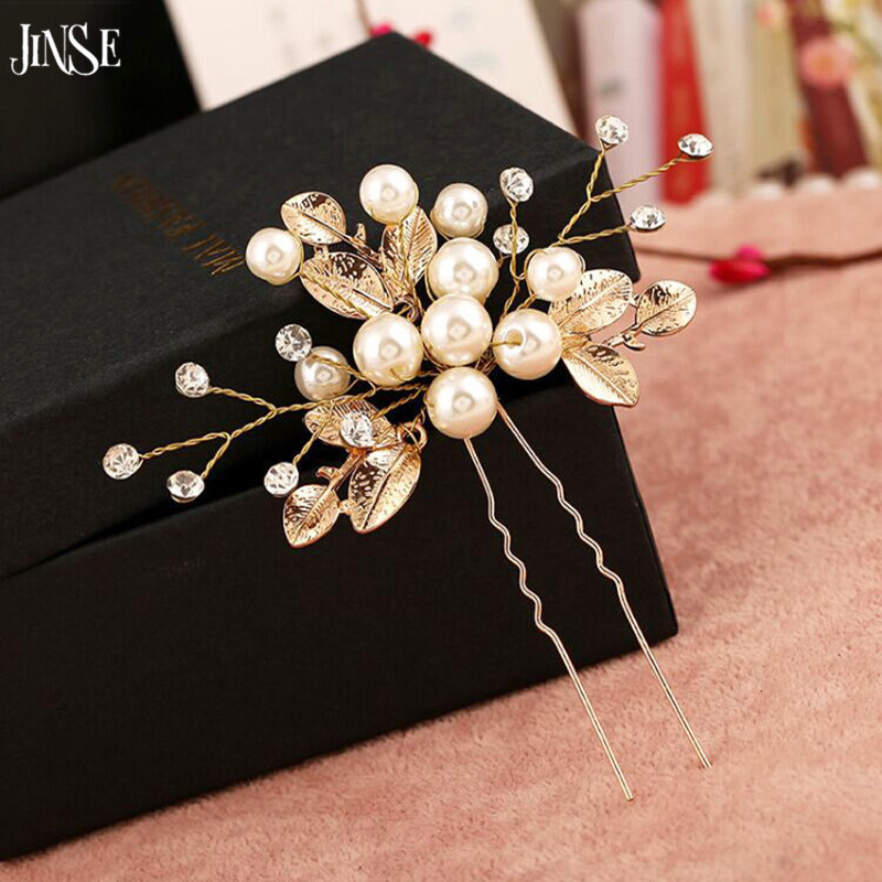 JINSE Luxurious Bridal Hair Comb Golden Leaf Women Pearl Hair Jewelry Rhinestone Hair Ornaments Bride Wedding Accessories HBS012 in Hair Jewelry from Jewelry Accessories